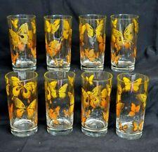 Libbey FLUTTER Orange & 22K Gold Trim BUTTERFLY Set of 8 HIGHBALL 12oz Tumblers