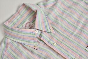 Brooks Brothers 346 Multicolor Striped 100% Linen Dress Shirt Size: Large