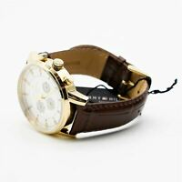 NOB Tommy Hilfiger 1790874 Mens Gold Tone Quartz Watch with Brown Leather Band