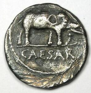 Julius Caesar AR Denarius Silver Elephant Coin 49 BC - VF Details (Scratches)