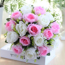 18 Heads Artificial Silk Bridal Bouquet Roses Flower Wedding Festival Home Decor