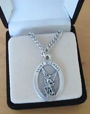 """St Michael Archangel Medal Pendant Necklace 24"""" Chain ITALY Silver Plate"""