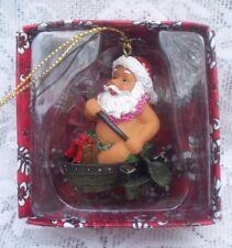 Hawaii Canoeing Grass Skirt Santa Claus Christmas Ornament New In Box B7
