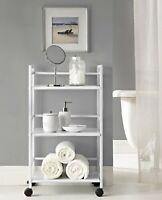 Storage Cart With Wheels White Shelf Metal Utility Furniture Kitchen Office Home
