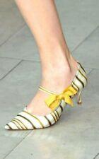 NEW Tory Burch Heels Satin Yellow Striped SZ:8