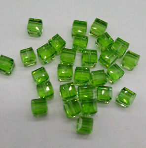6pc Swarovski Crystal Peridot 6mm Cube 5601 Beads; Faceted Square; August Green
