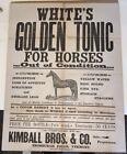 circa 1880, BROADSIDE, WHITE'S GOLDEN TONIC FOR HORSES, ENOSBURGH FALLS, VERMONT