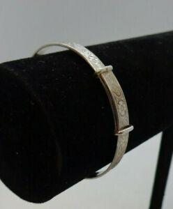Sterling Silver 925 Christening Bracelet Sprung Floral Patten +Gift Box VGC #106