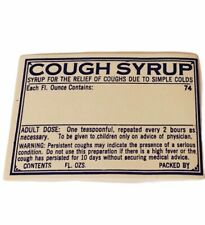 Pharmacy label vtg ephemera paper WW1 era WWI drugstore cough syrup syrup colds