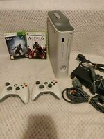Xbox 360 Pro Microsoft White 60GB Gaming Console 2 Controllers, Cables, 2 Games