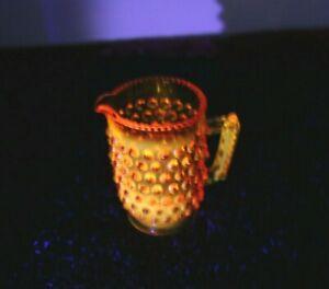 AMBERINA GLASS THISTLE BUD POSY VASE JUG CREAMER FENTON MANGANESE URANIUM