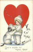 Child Dog Broken Heart MEP Margaret Evans Price c1910 Valentine Postcard