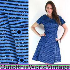 Vtg 50s BLUE STRIPED GLITTER DRESS Party Evening FULL SKIRT PINUP Sailor Sparkly