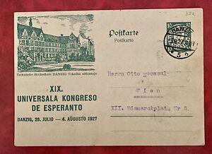 Danzig 1927 XIX Esperanto Congress Postal Card to Wien