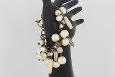 Bracelet Fashion 4111B Goldtone Dangle Pearl Beads