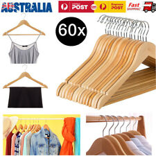 60 x WOODEN CLOTHES HANGERS COAT PANT SUIT COATHANGERS RACK WARDROBE WOOD BULK