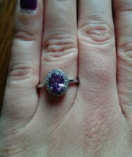 Sterling Silver Imitation Diamond Amethyst ring size N