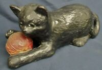 Antique Bretby Pottery cat with red ball of wool 1518
