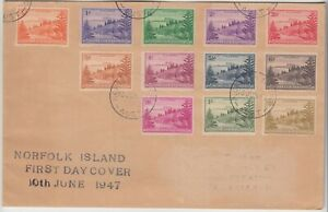 NORFOLK ISLAND 1947 full set of 12 on official FDC