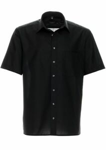 "Eterna Herren-Hemd  ""Normal-Schnitt""-schwarz- -Bügelfrei- 100% Baumwolle kurzarm"