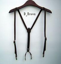 Lot of 10 Mens Dark Brown Leather Suspenders Y-Back Retro Braces Clip-On belts