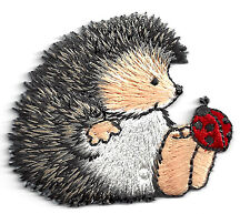 ANIMALS, HEDGEHOG w/LADYBUG - Iron On Embroidered Applique Patch -Cute Critters