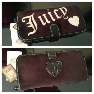 Juicy Couture BLACK Velour Cosmetic Brush Roll Case w/ Brushes NWT & BOX