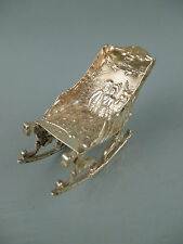 Antique Dutch Rococo 18c Style solid Silver Minaiture Rocking Chair #1 Sl