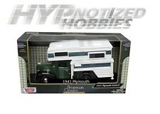MOTOR MAX 1:24 1941 PLYMOUTH PICKUP WITH CAMPER DIE-CAST GREEN 75278