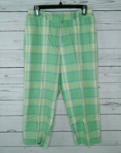 Talbots Women's Stretch Green Plaid Cotton Capri's Size 6 Pants Split Hem