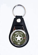 WILLYS MB JEEP FAUX LEATHER KEY RING / KEY FOB.CLASSIC AMERICAN WII ARMY JEEPS