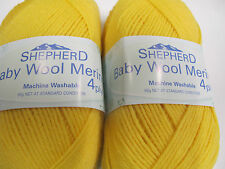 SHEPHERD MERINO BABY WOOL 4PLY 50 GRS 5 BALLS CANARY,NO 2967,DISCONTINUED