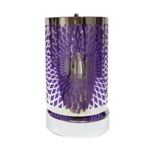Touch Sensitive Aroma Lamp Oil Burner Wax Melt Warmer Burner Silver Purple