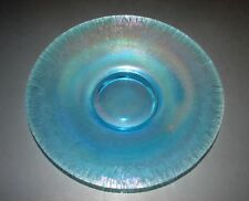 "Stretch Iridescent Celeste Blue Art Glass Low Footed Plate Fenton 9"""