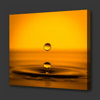 ABSTRACT GOLDEN YELLOW WATER DROP BOX CANVAS PRINT WALL ART PICTURE PHOTO