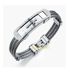 Stainless Steel Men Silver Color Cross 3 Rows Wire Chain Bangle Bracelet
