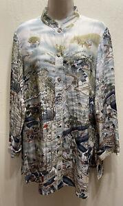 CITRON Santa Monica 100% Silk Tunic Shirt