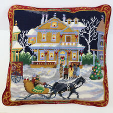"""Embroidered Holiday Snow Scene Velvet Throw Pillow, Removable Cover, 13"""" Square"""