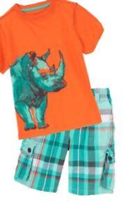 Gymboree Safari Ranger 4 5 Set orange Rhino Tee & Plaid cargo shorts