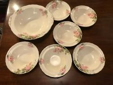 """Antique Vintage Imperial Ware """"Sweet Briar"""" Set of 6 Bowls & Desert Bowl"""