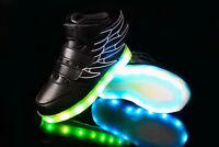 LED Light Up USB Charge Kids Boys Girls Wing Velcro Sneakers Trainer Children UK