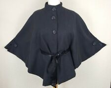 Ladies Cloak Cape Poncho Large (14/16) Dark Grey Warm Lined Stylish Buttons