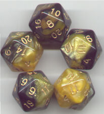 NEW RPG Dice Set of 5 D20 - Twisted Black-Gold