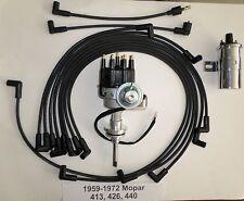 MOPAR 413-426-440 BLACK SMALL Cap HEI Distributor +CHROME COIL +Spark Plug Wires