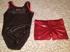 Lot of 2 Gymnastics Dance leotard shorts Foil Rhinestones Size Cl