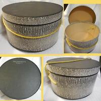 Vintage Garfinckel & Co Round Hat Box Black & White Faux Snakeskin Gold Rope EXC