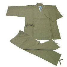 Japanese Kimono Samue Hemp For Men Grayish-Green LL Size