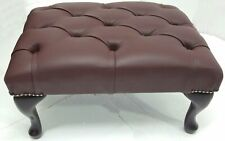 Chesterfield Deep Buttoned Queen Anne Footstool 100% Italian Brown Leather