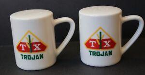 TX Trojan Porcelian Salt & Pepper Shakers. Corn Seed Company