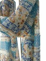Pashmina Scarf Wrap Vintage Ditsy Floral Print  Blues Yellow Orange